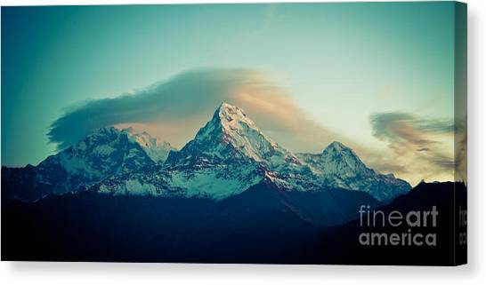 Annapurna South At Sunrise In Himalayas Artmif Photo Raimond Klavins Canvas Print