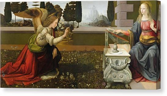 The Annunciation Canvas Print - Annunciation by Leonardo Da Vinci