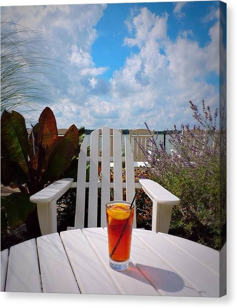 Iced Tea Canvas Print - At The Lake Series by Peg Donnellan