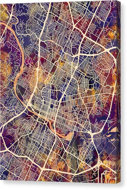 Austin Canvas Print - Austin Texas City Map by Michael Tompsett