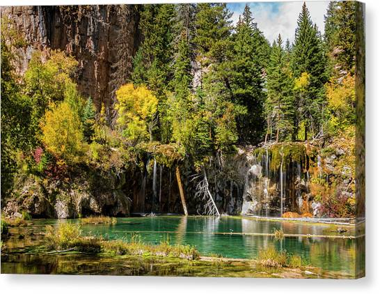 Colorado Rockies Canvas Print - Autumn At Hanging Lake Waterfall - Glenwood Canyon Colorado by Brian Harig