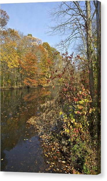Autumn Colors On The Canal Canvas Print