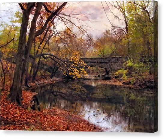 Rural Bridge Canvas Print - Autumn's Ending by Jessica Jenney