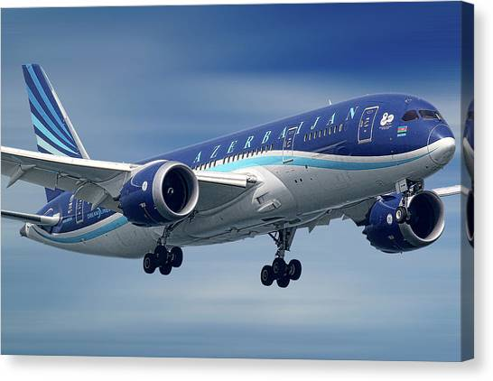 Airlines Canvas Print - Azerbaijan Airlines Boeing 787 Dreamliner by Smart Aviation