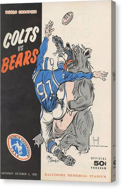 Indianapolis Colts Canvas Print - Baltimore Colts Vintage Program by Joe Hamilton