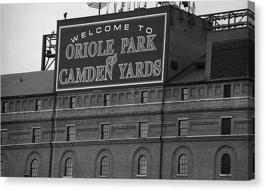 Orioles Canvas Print - Baltimore Orioles Park At Camden Yards Bw by Frank Romeo