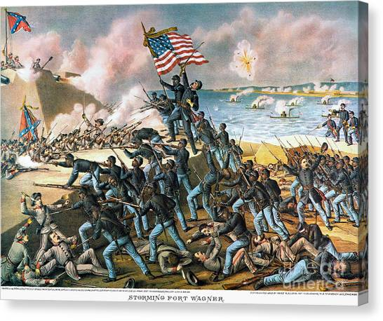 Confederate Army Canvas Print - Battle Of Fort Wagner, 1863 by Granger