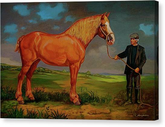 Belgian Draft Horse. Canvas Print by Alan Carlson