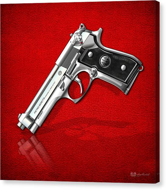Gun Control Canvas Print - Beretta 92fs Inox Over Red Leather  by Serge Averbukh