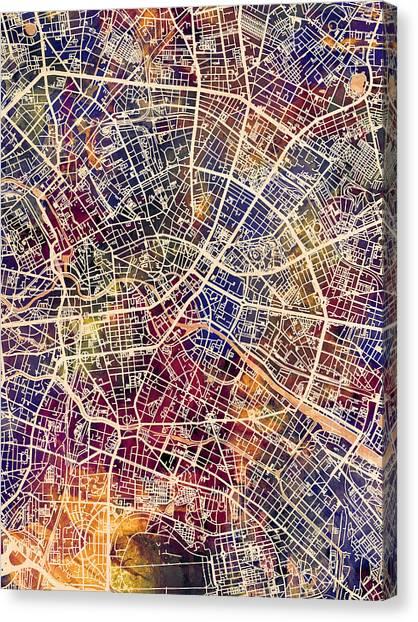 Berlin Canvas Print - Berlin Germany City Map by Michael Tompsett