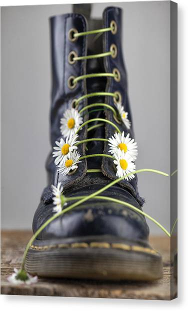 Daisy Canvas Print - Boots With Daisy Flowers by Nailia Schwarz
