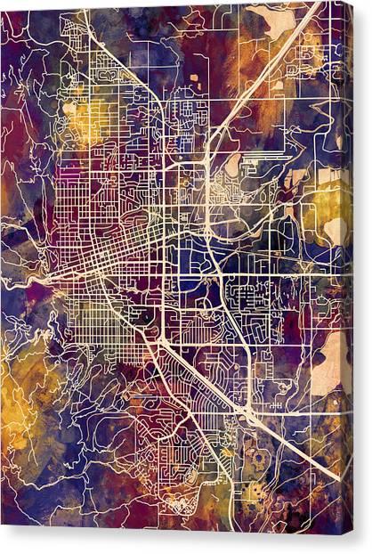 Boulder Canvas Print - Boulder Colorado City Map by Michael Tompsett