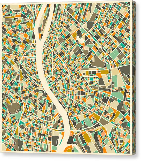 Budapest Canvas Print - Budapest Map by Jazzberry Blue