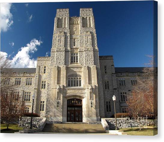 Virginia Polytechnic Institute And State University Virginia Tech Canvas Print - Burruss Hall At Virginia Tech by Ben Schumin
