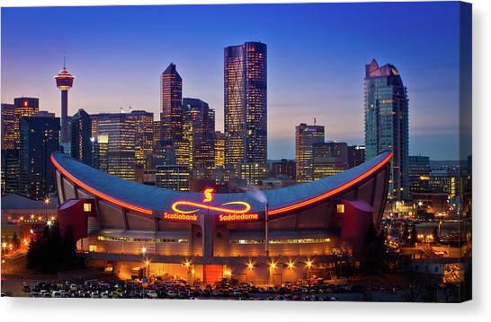 Calgary Flames Canvas Print - Calgary by Cory Huchkowski