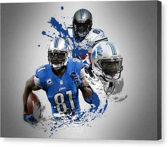 Detroit Lions Canvas Print - Calvin Johnson Lions by Joe Hamilton