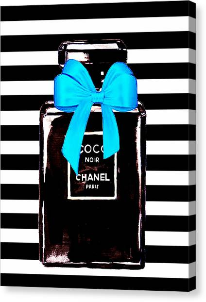 Chanel Canvas Print - Chanel Noir Perfume  by Del Art