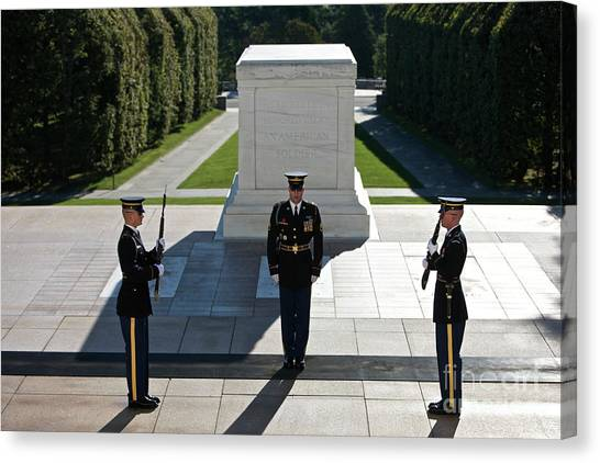 National Guard Canvas Print - Changing Of Guard At Arlington National by Terry Moore