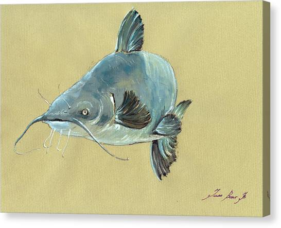 Catfish Canvas Print - Channel Catfish Fish Animal Watercolor Painting by Juan  Bosco