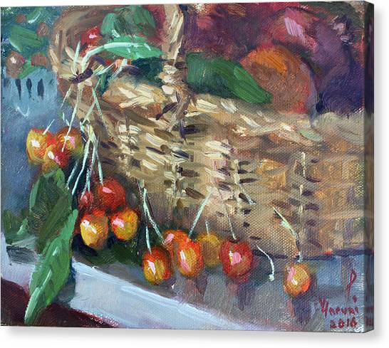Fruit Baskets Canvas Print - Cherries by Ylli Haruni