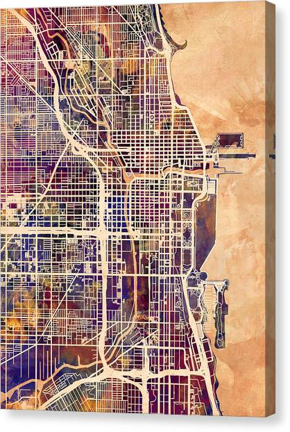 Sears Tower Canvas Print - Chicago City Street Map by Michael Tompsett