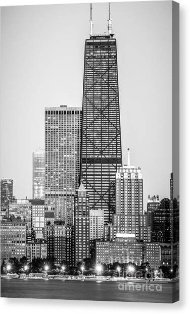 Chicago Black White Canvas Print - Chicago Hancock Building Black And White Picture by Paul Velgos
