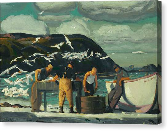 Bellows Canvas Print - Cleaning Fish by George Bellows