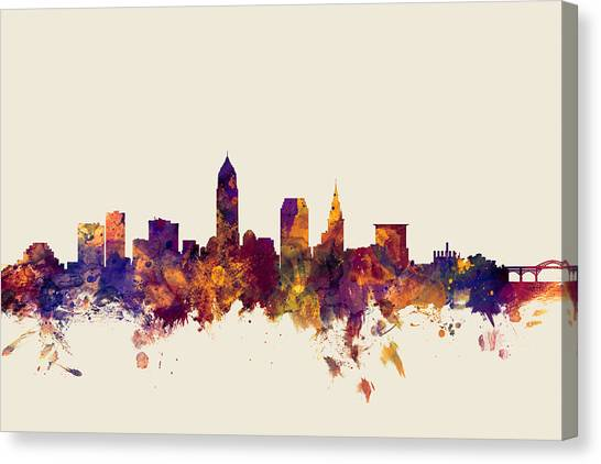 Cleveland Canvas Print - Cleveland Ohio Skyline by Michael Tompsett