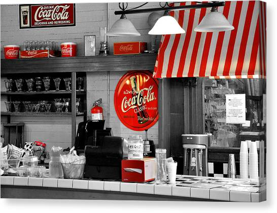 Diners Canvas Print - Coca Cola by Todd Hostetter