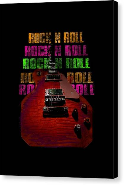 Canvas Print featuring the photograph Colorful Music Rock N Roll Guitar Retro Distressed  by Guitar Wacky