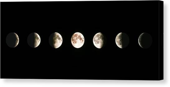 Moon Canvas Print - Composite Image Of The Phases Of The Moon by John Sanford