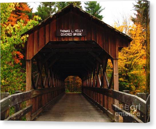 Canvas Print featuring the photograph Covered Bridge At Allegany State Park by Rose Santuci-Sofranko