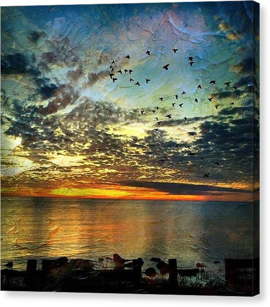 Mississippi Canvas Print - Created With #distressedfx #sunset by Joan McCool