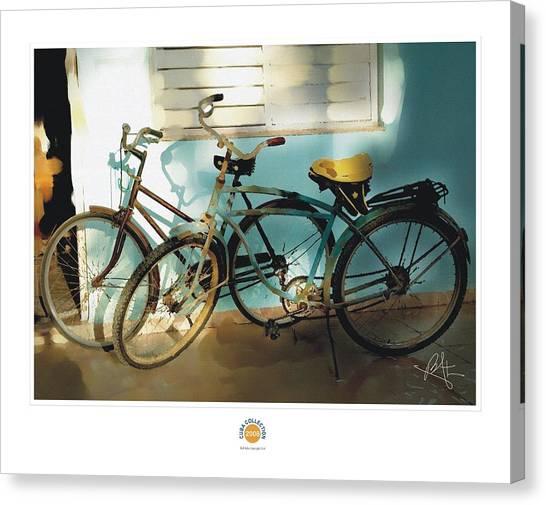 2 Cuban Bicycles Canvas Print by Bob Salo