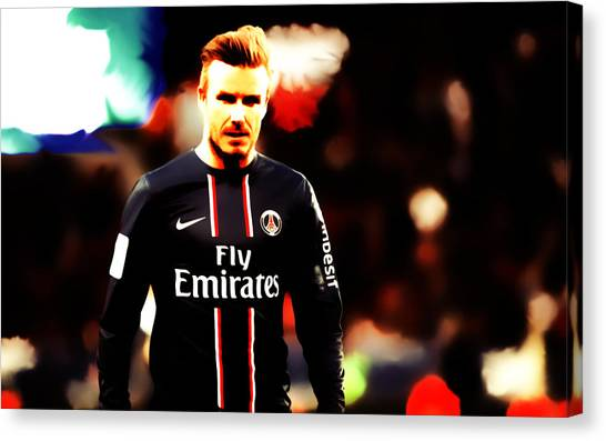 British Premier League Canvas Print - David Beckham 5c by Brian Reaves