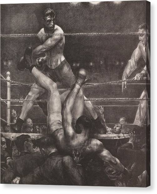 Knockout Canvas Print - Dempsey Through The Ropes by George Bellows