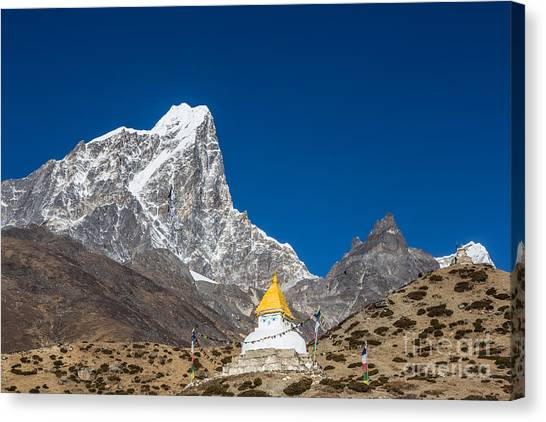 Dingboche Stupa In Nepal Canvas Print