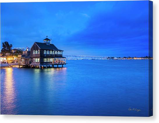 Canvas Print featuring the photograph Dinner On The Bay by Dan McGeorge