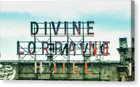 Temple University Canvas Print - Divine Lorraine Hotel - Marquee by Bill Cannon