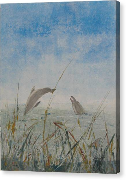 Dolphin Frolic Canvas Print by Libby  Cagle