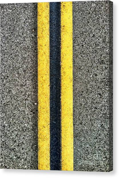 Double Yellow Road Lines Canvas Print
