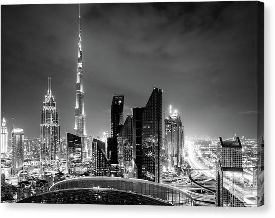 Burj dubai canvas print dubai downtown skyline by alexey stiop