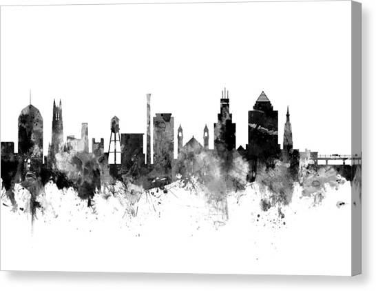 Duke University Canvas Print - Durham North Carolina Skyline by Michael Tompsett