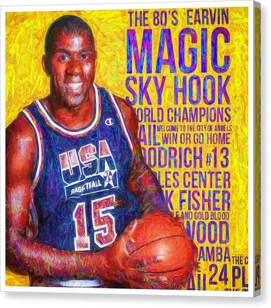 La Lakers Canvas Print - Ear In Magic Johnson Showtime No Look by David Haskett