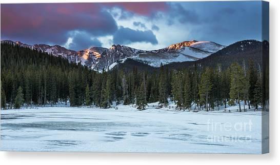 Lake Sunrises Canvas Print - Echo Lake At Dawn by Twenty Two North Photography