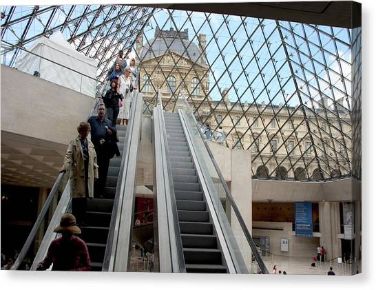 Escalator Entrance To Louvre Canvas Print by Carl Purcell