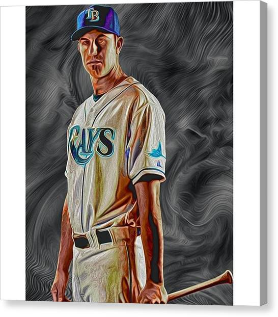 Baseball Canvas Print - #evanlongoria #evalongoria #lngoria by David Haskett II