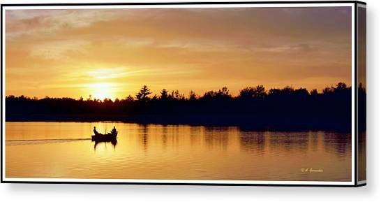 Fishermen On A Lake At Sunset Canvas Print