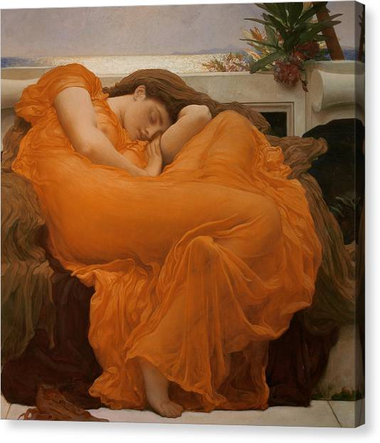 Nipples Canvas Print - Flaming June by Frederic Leighton