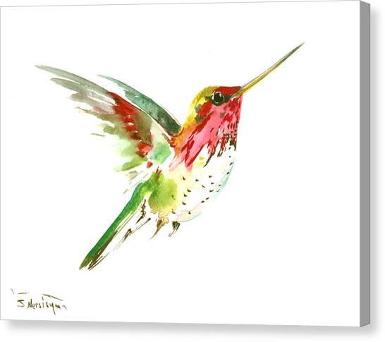 Small Birds Canvas Print - Flying Hummingbird by Suren Nersisyan